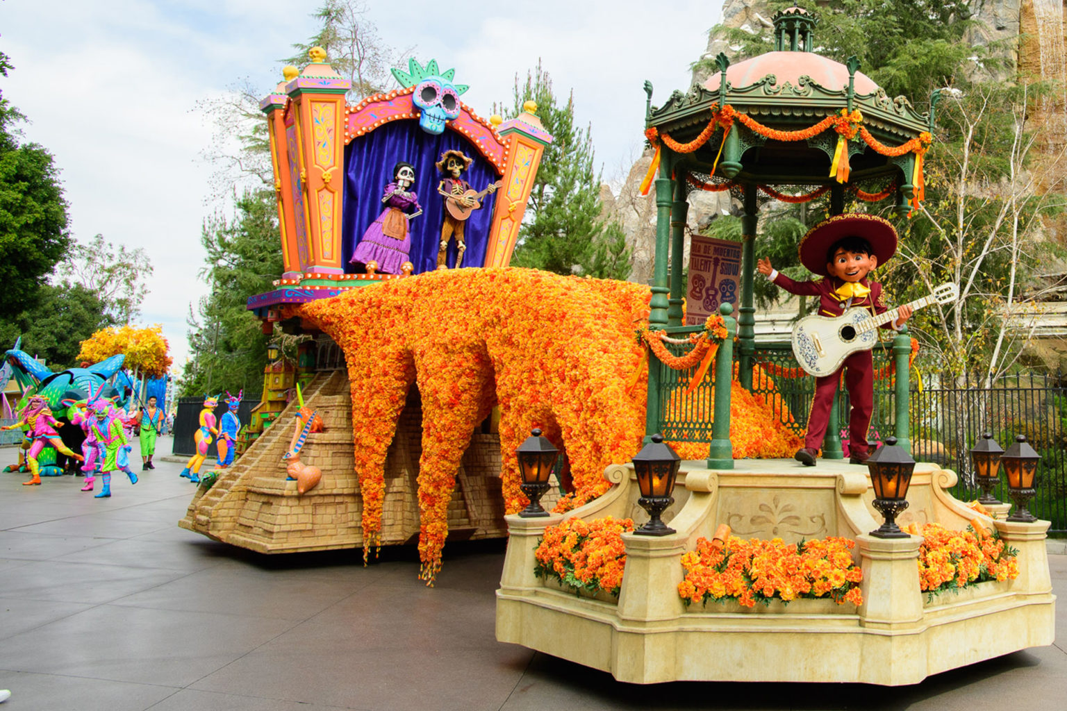 'Coco' float in the 'Magic Happens' Parade at Disneyland Park
