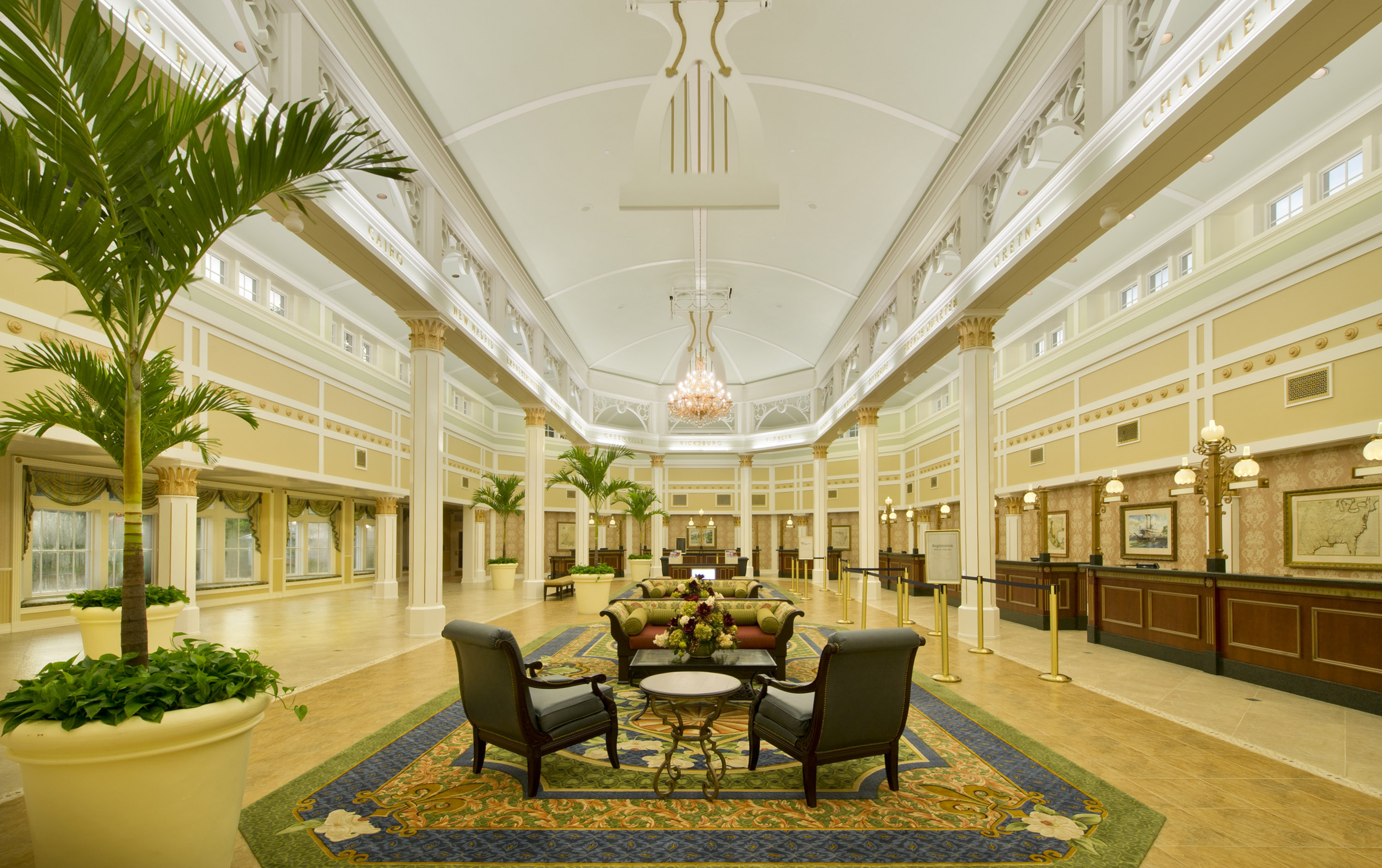 Photo of the lobby at Port Orleans Riverside, a beautiful Disney Moderate resort.