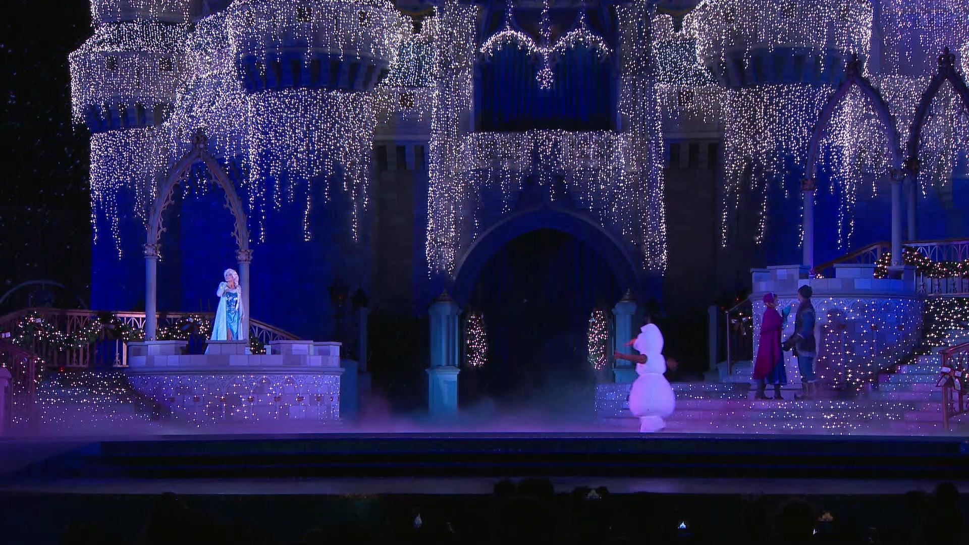 Magic Kingdom B Roll Holiday Castle Lighting Walt Disney